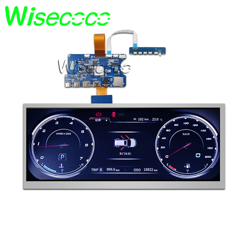 Wisecoco Stretched Bar LCD 12.3 Inch HSD123KPW1-A30 Lcd Screen 1920*720 High Brightness Type C Hdmi Driver Board For Car Display