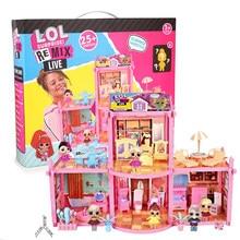 Novo lol surpresa bonecas o. m. g. Remix kitty k cabelo longo lol casa figuras brinquedos de ação para o presente de aniversário do miúdo