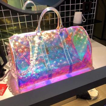 Luxury Holographic New Printing Transparent Large-Capacity Sports Handbag High Quality PVC Short-Distance Laser Travel Bag 50CM iwhd white swing long arm wall lamp vintage bedroom bathroom mirror industrial loft style retro wall lights fixtures edison led