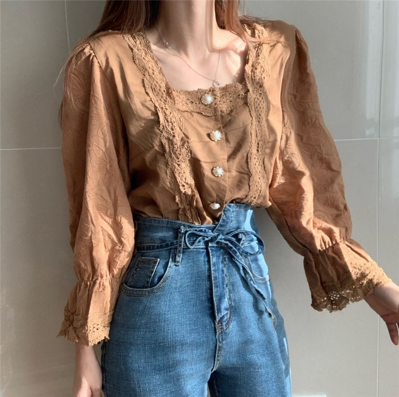 H9d09a1a6a10e49618d1122183b3aead5D - Spring / Autumn Square Collar Flare Sleeves Hollow Out Pearl Buttons Blouse
