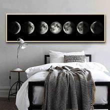 Affiche sur toile avec La Lune en noir et blanc, décor nordique abstrait pour chambre à coucher, salon