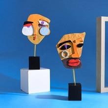 Novo abstrato estátuas esculturas resina rosto escultura decoração ornamentos acessórios de mesa acessórios para casa