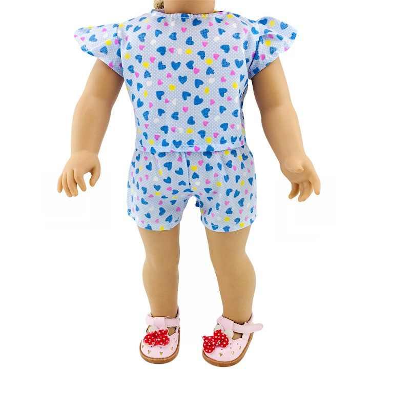 18 אינץ אמריקה GIRL של 43cm בובת בגדי קטן לב לטוס שרוול חולצות מכנסיים קצרים סט מאחל סחר חוץ חם מכירות