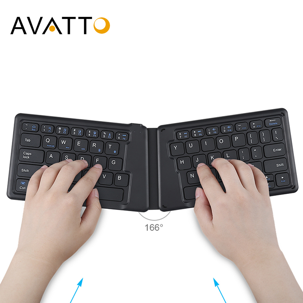 AVATTO B05 Portable Mini Folding Keyboard, Traval Bluetooth Foldable Wireless Keypad For Iphone,Android Phone,Tablet,ipad,PC