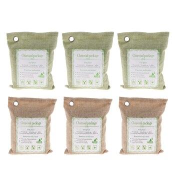 6 Pcs 200g Bamboo Charcoal Air Purifying Bag (6 Pack), Car Air Freshener Closet Air Purifier, Home Air Freshener - Green + Beige