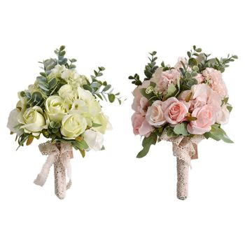 Wedding Bridal Bouquet Handmade Artificial Rose Eucalyptus Leaves Bridesmaid Holding Flowers for Party Home Table Decor - discount item  32% OFF Wedding Accessories