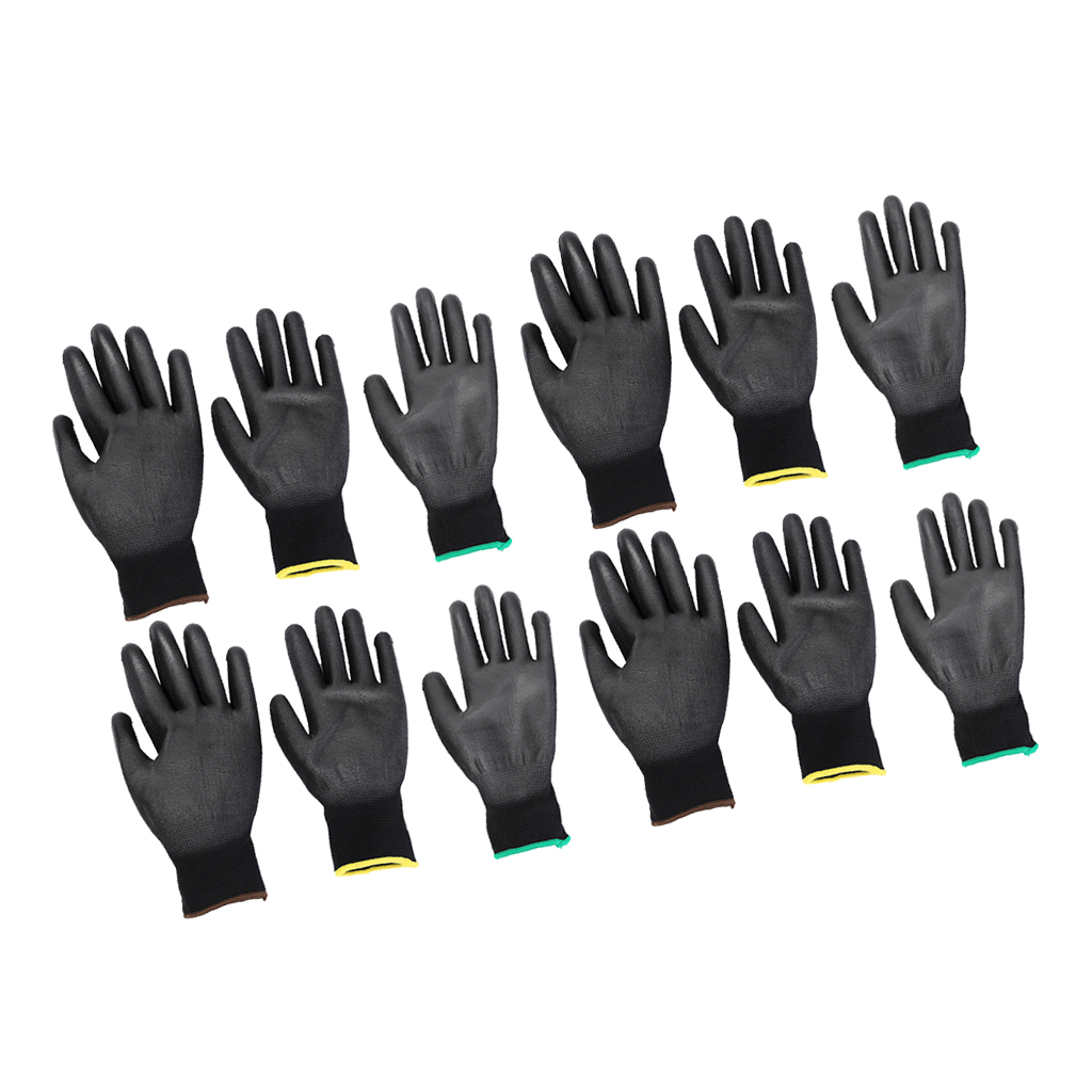 6 Pairs Nylon PU Coated Safety Work Gloves For Garden Builders, Precision Work