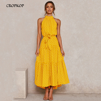 Summer Long Dress Polka Dot Casual Midi Dresses Black Halter Strapless New 2020 Yellow Sundress Vacation Clothes For Women yellow bow tie front strapless zip back design midi dress