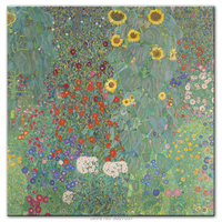 Hand Painted Gustav Klimt Famous Canvas Paintings Reproductions Farm Garden with Sunflowers Oil Painting Wall Pictures