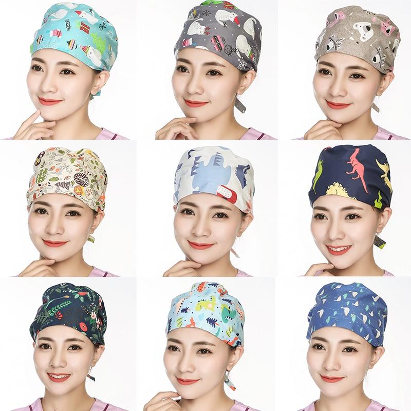 2pc Surgical Scrub Cap Flower Printed Adjustable Tie Doctor Nurse Cap Surgery Hat