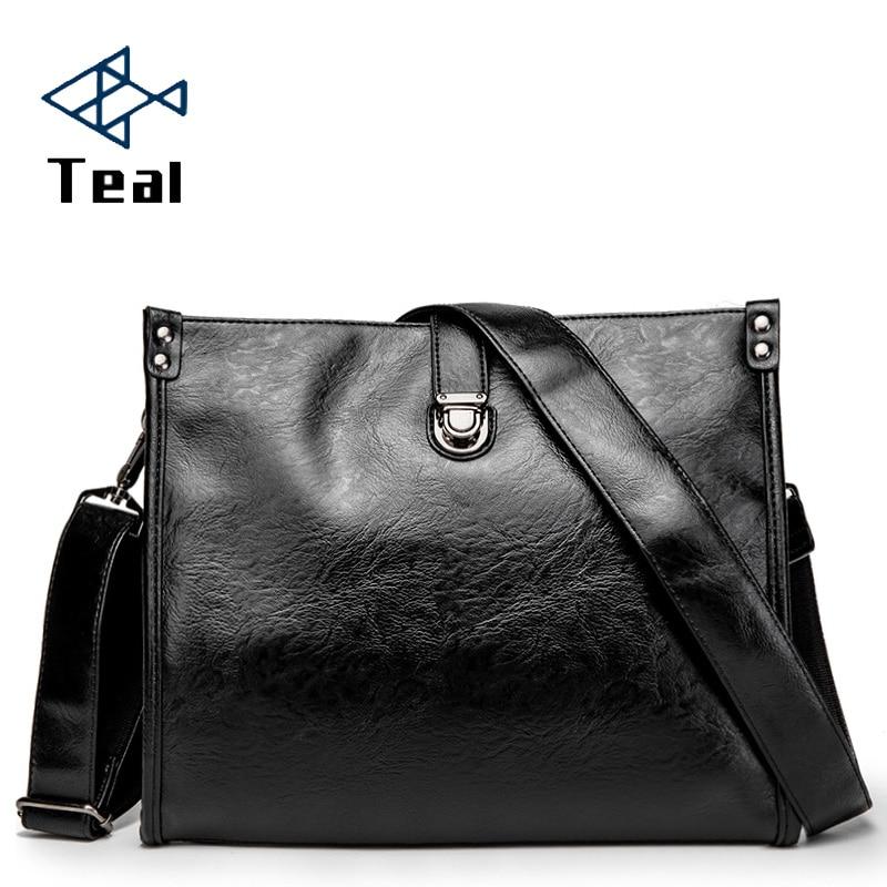 Men's Business Leather Bag Mens Briefcase Laptop Shoulder Bag For Men Messenger Bags Large Capacity Shoulder Bags High Quality