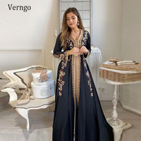 Verngo Moroccan Kaftan Evening Dresses Long Sleeves Lace Pattern Embroidery Formal Dress Navy Blue Floor Length Outfit