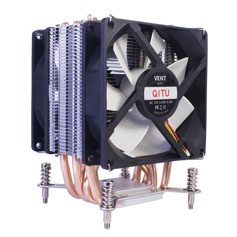 QITU 6 Heat Pipes CPU Cooler 3 Pin 4 Pin PWM 92mm PC quiet Fan  for Intel LGA 2011 2066 E3 E5 X79 X99 X299 9CM CPU Cooling Fan 2