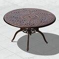 Сверхмощный литой алюминиевый обеденный стол для патио уличные столы для садовых стульев прочный dia130x73cm в черном цвете