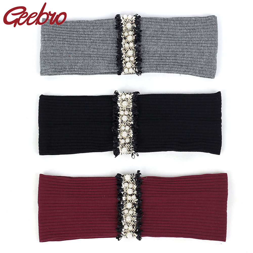 Geebro Pearl Lace Stripe Elastic Ribbed Women Yoga Headband Delicate Beads Hairband Female Hair Accessories For Lady Girls