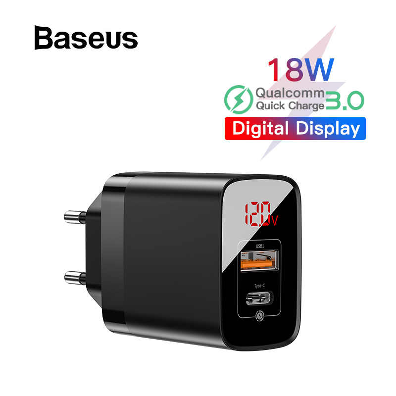 BASEUS Tampilan Digital Pengisian Cepat 3.0 Usb Charger 18W PD 3.0 Cepat Charger untuk iPhone 11 Pro Charger Ponsel telepon Usb C Charger