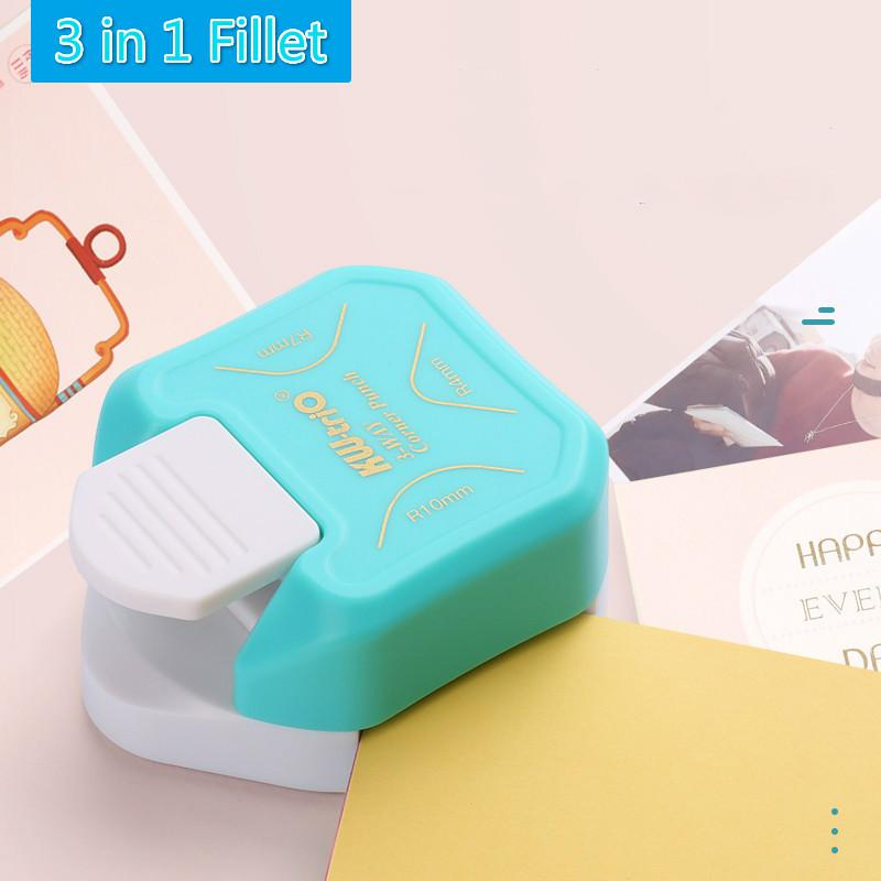 3-in-1 Corner Rounder Punch R4/r7/r10mm Round Corner Trimmer Cutter For Card Photo Paper Laminating Pouches Office Use