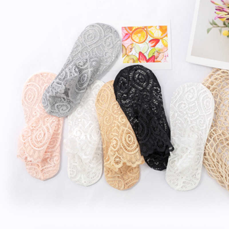 Spring Summer Woman Girls  Low Invisible Ankle Transparent Hollow Out Socks Lace Flower Short Boat Sock Non-slip Short Socks