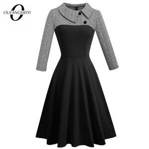 Image 1 - Femmes Vintage Patchwork automne décontracté affaires robe patineuse boutons col rabattu a ligne fête robe de bureau EA136