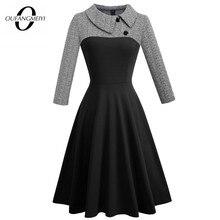 Vestido patinador de negocios retro para mujer, vestido informal de Otoño de retazos con botones y cuello vuelto, vestido para fiesta y oficina EA136
