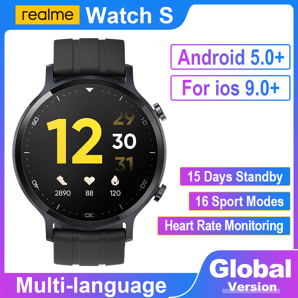 Permalink to Realme Watch S Global Version IP68 Sports Smart watch Waterproof 15 Day Battery Heart Rate Monitor Music Control For ios Android