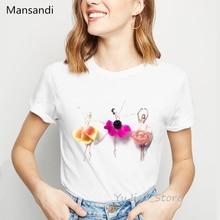 Illustration of flowers Ballet Dancer print t-shirt women vogue t shirt camiseta mujer korean style clothes white tshirt tops