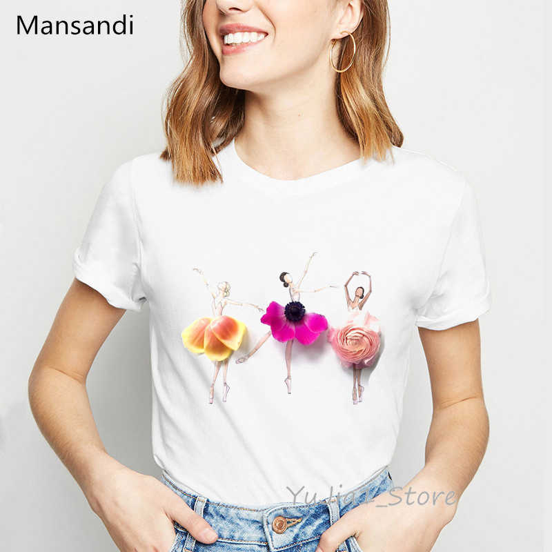 Illustrazione di fiori Ballerino di danza classica della stampa t-shirt donne di moda t shirt camiseta mujer vestiti di stile coreano bianco parti superiori della maglietta