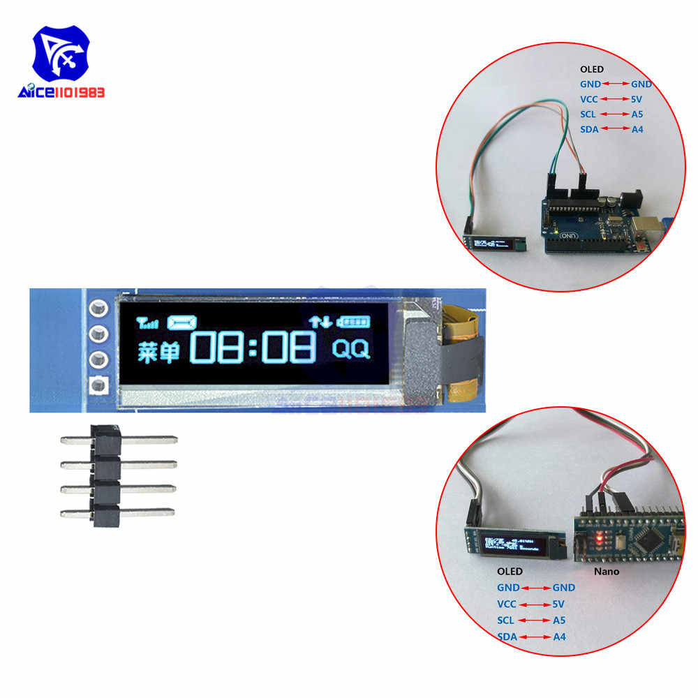 Diymore 0.91 Inch 128X32 Oled Lcd Display Module 4 Pin Lcd Module SSD1306 Driver Iic I2C Interface Voor arduino Raspberry Pi
