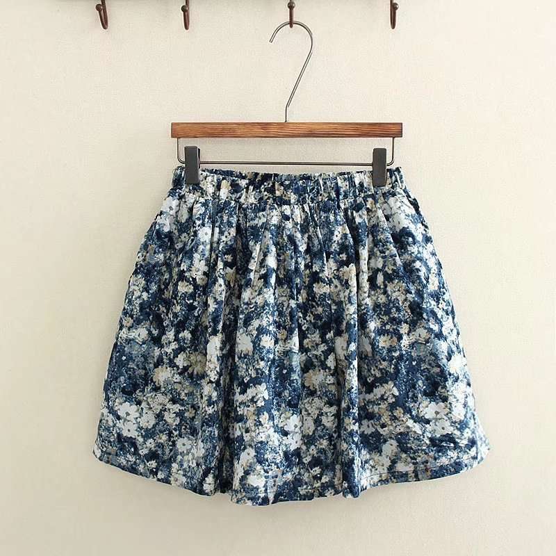 S4232 New Products Summer Vintage Floral-Print Half-length High-waisted Slimming Short Skirt A- Line Skirt Loose Pants Women's A