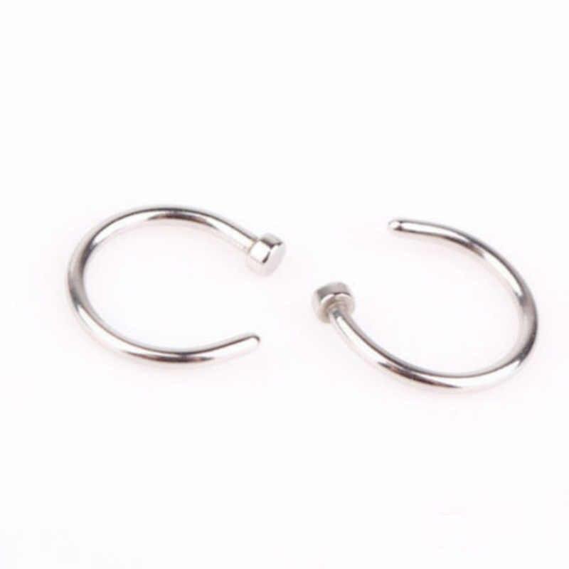แหวนจมูกปลอม Goth Punk Lip หูคลิปจมูกปลอม Septum แหวนจมูก Hoop Lip Hoop แหวนต่างหู