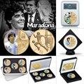 1960-2020 RIP Diego Maradona Gold Überzogene Gedenkmünze Set mit Münze Halter Fußball Herausforderung Münzen Souvenir Geschenk für ihn