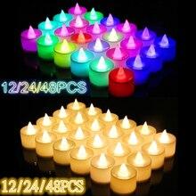 12/24/48pcs Flameless LED Tealight 차 촛불 웨딩 라이트 낭만적 인 촛불 조명 파티 웨딩 장식