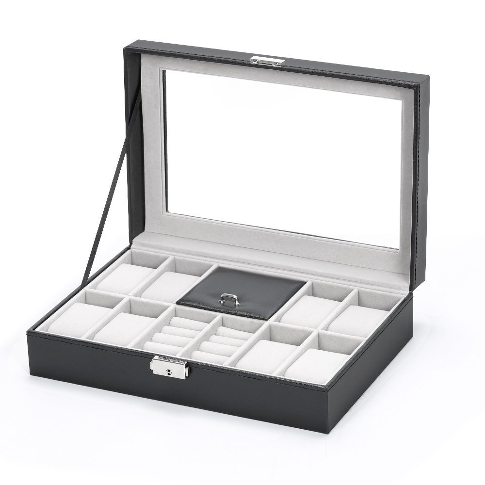 Currently Available 8-Bit Watch Box + 2 Lattice Ring Jewelry Box Pu Watch Box Watch Jewlery Box Customizable Wholesale
