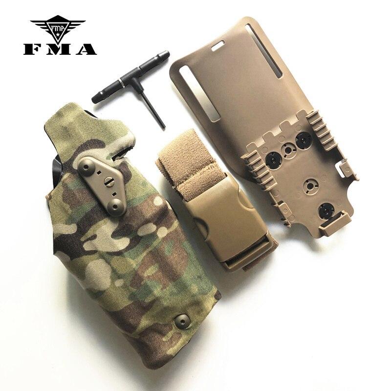 Fma glock17 coldre tático pistola coldre x300 luz-compatível para g17/18 ql montagem coldre painel adaptador perna mortalha gota