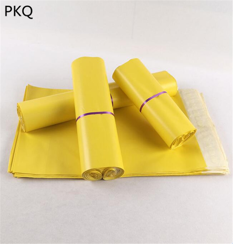 Yellow Waterproof Poly Mailer Plastic Shipping Mailing Bags Envelope Polybag For Postal Disposable Courier Bags(China)