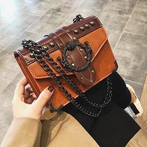 Image 5 - European Fashion Female Square Bag 2020 New Quality PU Leather Womens Designer Handbag Rivet Lock Chain Shoulder Messenger Bags