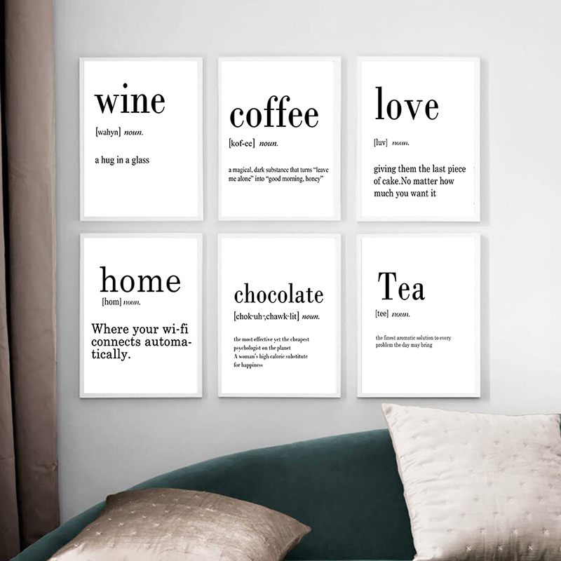 Minimalist Coffee Poster Black And White Wine Poster Kitchen Tea Posters And Prints Canvas Painting Kitchen Picture Home Decor