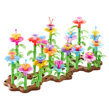 Puzzle-Brick Plastic Building-Block Garden-Assembly-Toy Educational-Toy Flower Smooth-Safe
