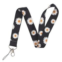 Lanières imprimées par fleur de marguerite pour la courroie de cou de téléphone de clés accrochant la corde de lanière de porte-Badge de corde