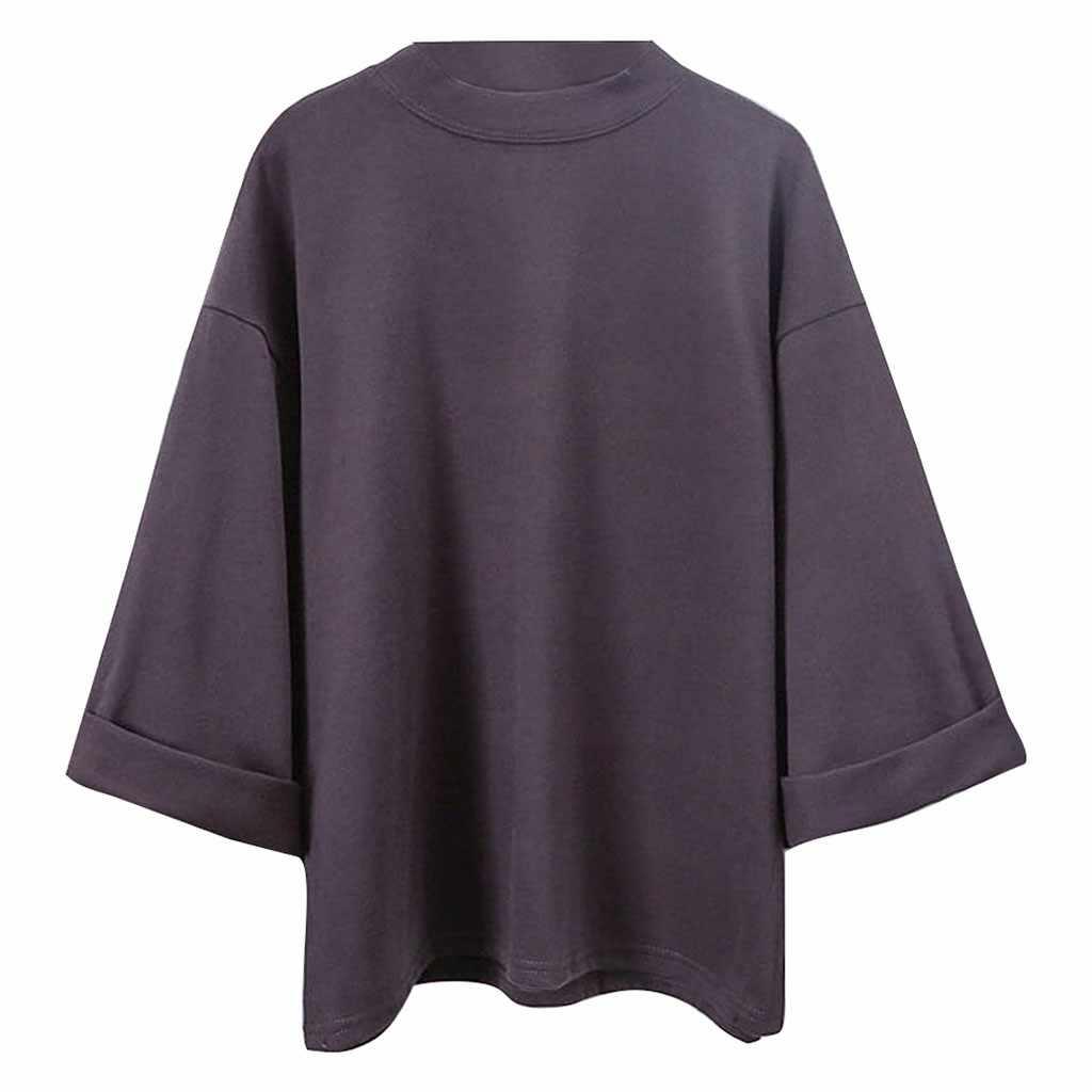 Tシャツ女性無地 3/4 スリーブ Tシャツ大サイズのサイズルーズスキニーパンツトップス Poleras Camiseta Mujer 原宿トップ女性 Tシャツオー