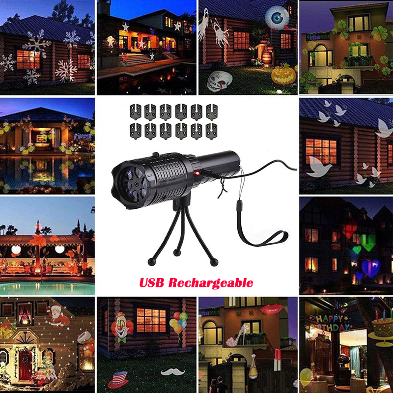 Christmas LED Projector Light 12 Patterns Disco Stage Light Snowflake Projection Outdoor Waterproof Home Garden Decor No Battery|Stage Lighting Effect| |  - title=