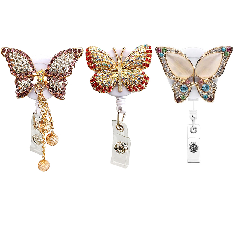3pcs/lot Fancy Rhinestone Butterfly Retractable Reel Nurse Gift ID Badge Name Holder With Belt Clip