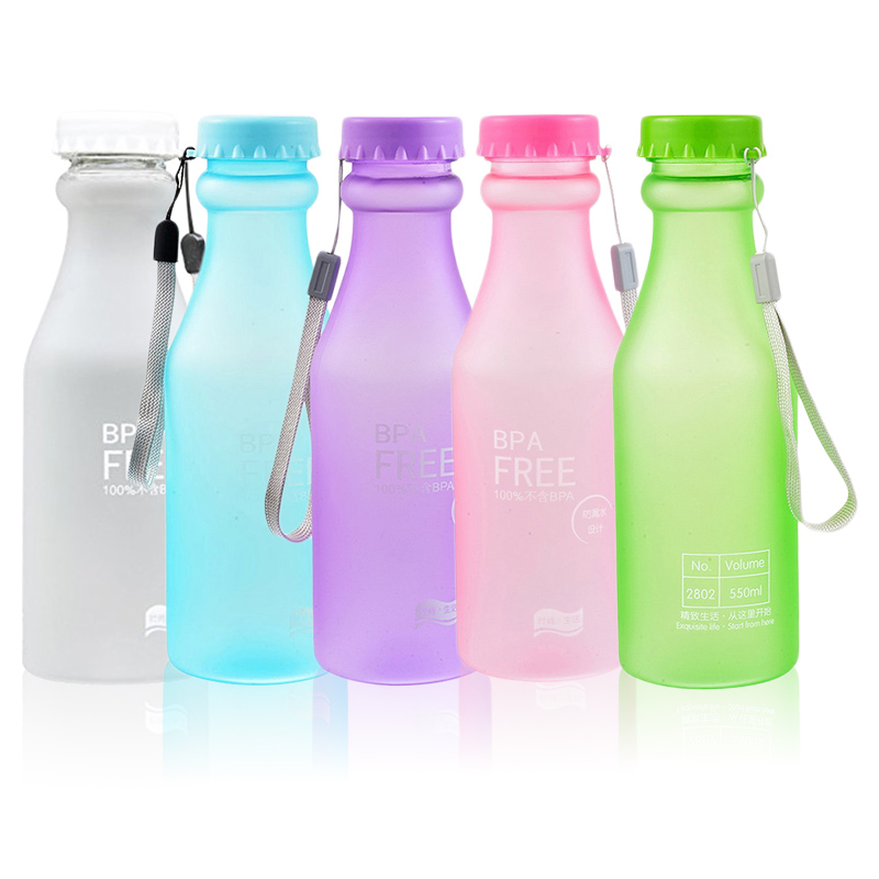 Kettle Unbreakable Travel Plastic Yoga Frosted Candy-Colors Leak-Proof Camping 550ml title=