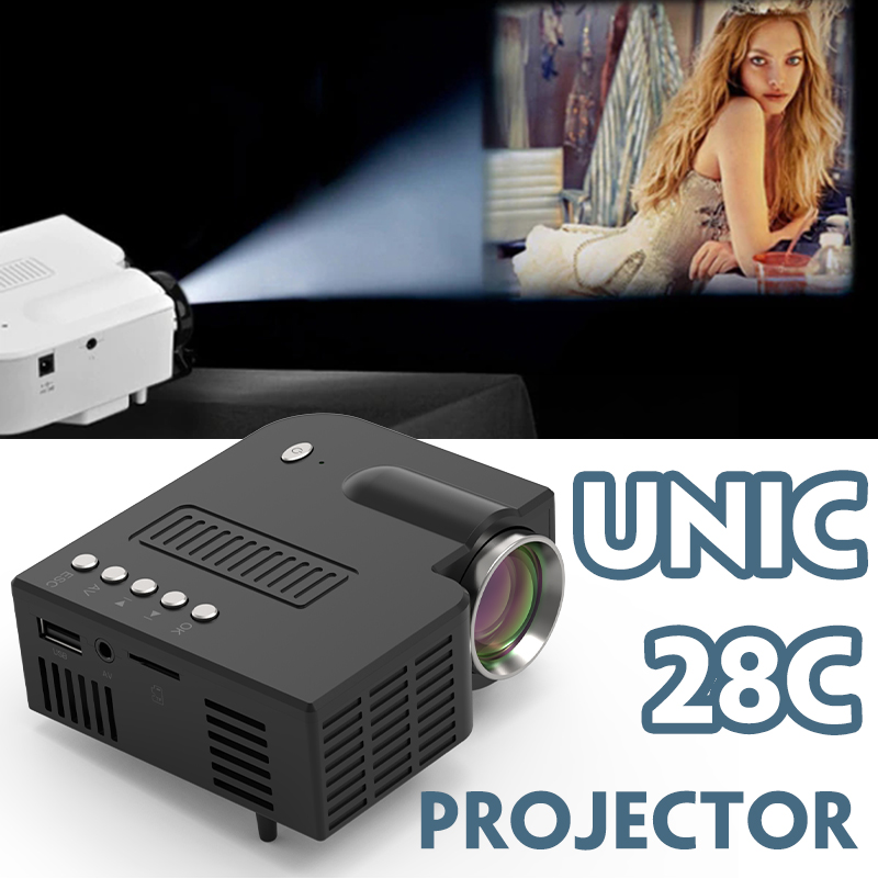 Unic 28 + led mini projetor portátil 1080p completo hd projetor projetor de entretenimento em casa projetores usb/sd/av entrada