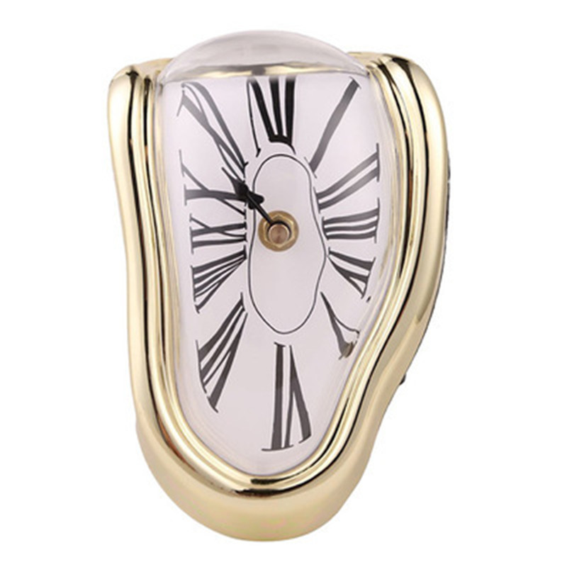 3D Creative Melting Distorted Wall Clock Sticker Surrealist Salvador Dali Style Wall Clock For Living Room Home Decoration Gift