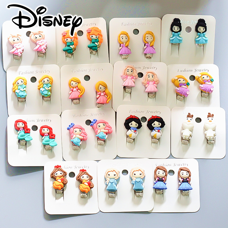 Disney Princess Earrings Cute Cartoon Frozen Princess Children Baby Ear Clip Jewelry Baby Girls Kids Fashion Makeup Accessories