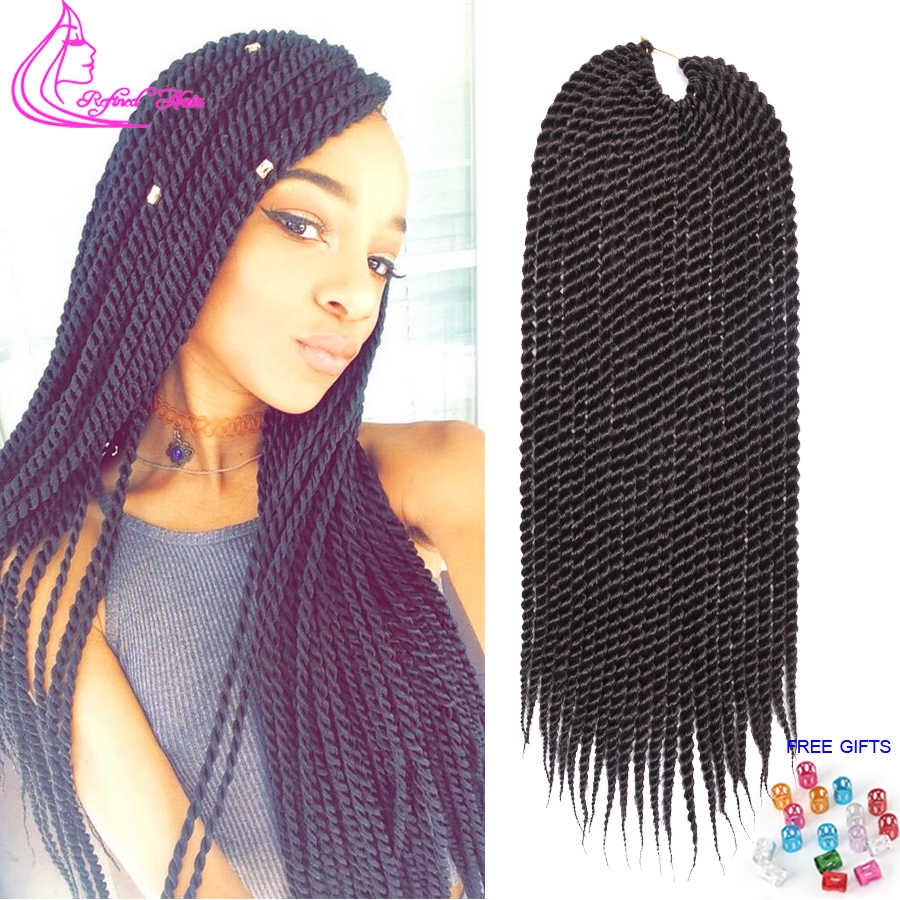 12 14 16 18 20 22Inch Handmade Crochet Braids Senegalese Twist Hair Extensions Brown Grey Red Ombre Synthetic Braid 22Strands/pc