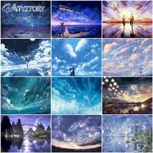 Gatyztory diy картина по номерам пейзаж звездного неба для самостоятельного