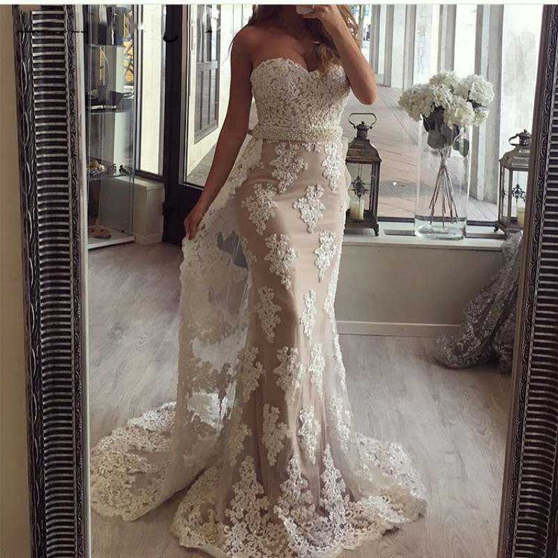 Gorgeous Evening Dresses Lace Long Sleeves Mermaid High Neck Beads Crystal Formal Prom Dress Party Gown Robe De Soiree 2019