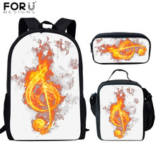 FORUDESIGNS Fashion 3D Flame Music Notes Print 3Set School Bags For Teen Girls Large Capacity Kids Backpack Women Racksack Mujer cheap Polyester zipper 0 4kg 800D polyester 44cm Letter 13cm 28cm School Backpack for Teenager Girls 3D Print Custom School Bags backpack